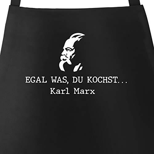 MoonWorks® Grill-Schürze Kochschürze für Männer egal was du kochst. Karl Marx lustiger Spruch Kalauer schwarz Unisize