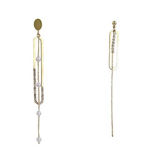 Pendientes De Perlas Con Borlas De Cadena De Metal Que Muestran La Cara Y Pendientes Largos Delgados Para Mujer
