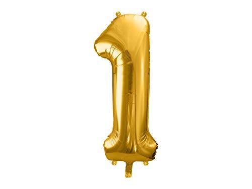 DaLoKu Luftballon Zahl 86cm XXL Folienballon Geburtstag Alter Silvester Dekoration Party, Farbe: Gold, Größe: 1