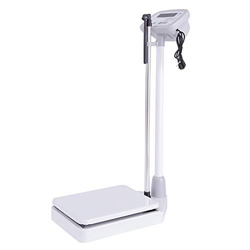 GMF Escala De Altura Y Peso Adecuada para La Familia/Hospital/Fitness, Bascula Medica con Tallimetro Pantalla LED, 40×30×95cm, Aleación De Aluminio+Acero+ABS
