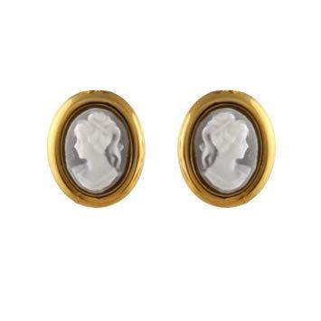 1001 bijoux - Orecchini ovali placcati oro con cammeo blu