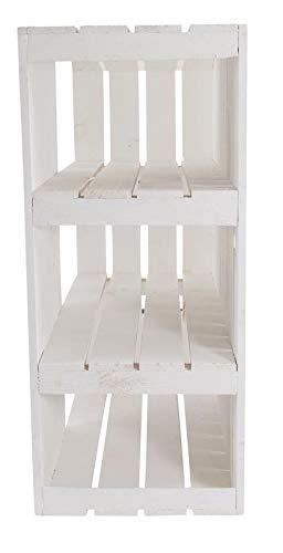 Kontorei® Schreibtisch Unterbau aus weißen Holzkisten (rechts) 74cm x 65cm x 35cm 1er Set Tisch Mittelbretter Weiss Holzregal Obstkiste Weinkiste Apfelkisten Deko Vintage Massive Obstkisten Natur