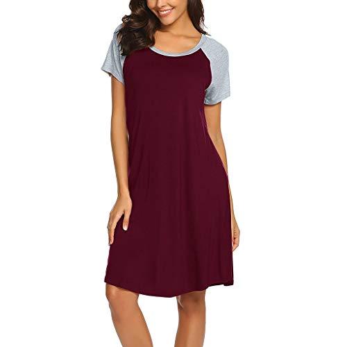 FEIXIANG Frauen Stillen Nachthemd Mutterschaft Pyjamas Nachthemd Pflege Nachtwäsche Kurzarm A-Line Kleid Reißverschluss Pflege Kleid Damen Sommer Schaukel Kleid