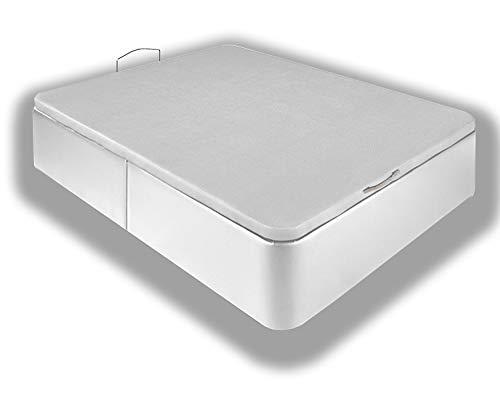 Canapé Tapizado en Polipiel, Acabado de Esquinas Redondas - Cabeceroscamas.com (Blanco, 150x190)
