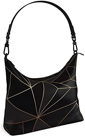 The Fashion Access Abstract Black Polygon with Gold Line Square Hobo Bag