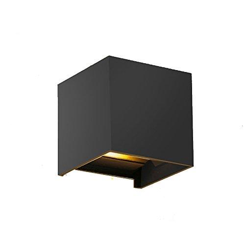 Motivtech 12W Dimmbare Wandleuchte Innen2-LED Aluminium Wasserdicht Kubisch Warmweiß Wandlampe Aussen Und Inner Modern Klassisch Design (Schwarz)