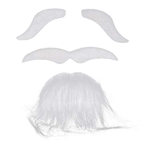 ABOOFAN Falsa barba cejas autoadhesivas novedad bigotes peludos Cosplay Props- Kit de bigotes falsos para Halloween, fiesta de disfraces de máscaras, color blanco