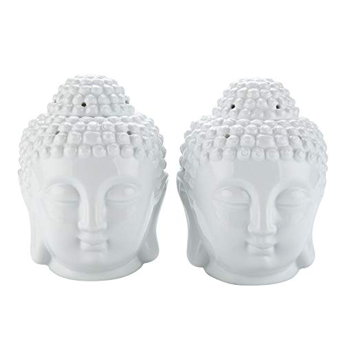ComSaf Ceramic Buddha Head Essential Oil Burner with Candle Spoon White, Aromatherapy Wax Melt Burners Oil Diffuser Tealight Candle Holders Buddha Ornament for Yoga Spa Home Bedroom Decor Gift