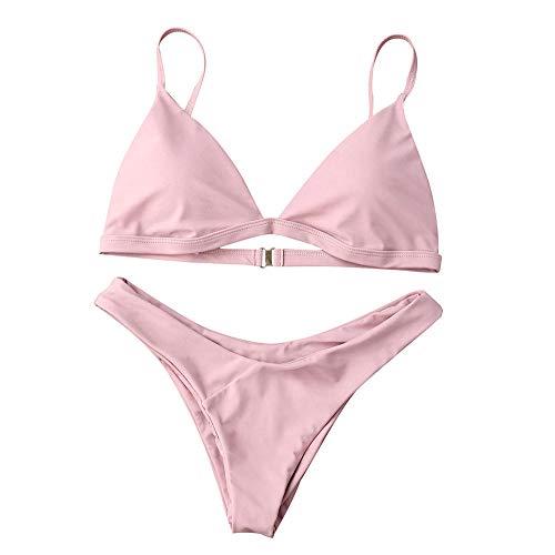 Conjuntos de lencería para Mujer Traje de baño Sexy para Mujer Traje de baño con Cuello Halter Bikini Set Sujetador con Relleno Vendaje Traje de baño-Pink_L