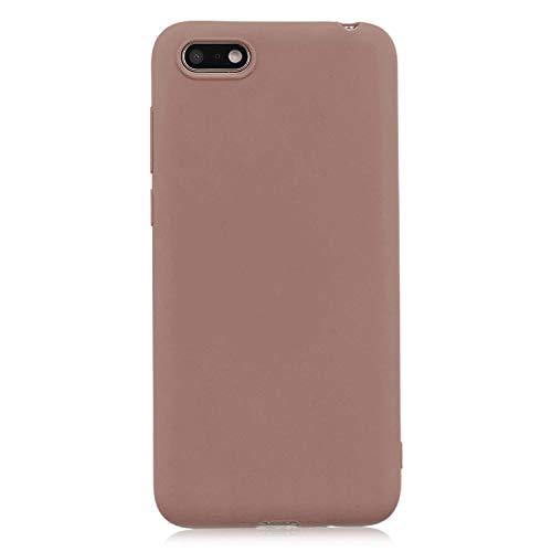 cuzz Funda para Huawei Y5 2018/Y5 Prime 2018/Honor 7S+{Protector de Pantalla de Vidrio Templado} Carcasa Silicona Suave Gel Rasguño y Resistente Teléfono Móvil Cover-Marrón