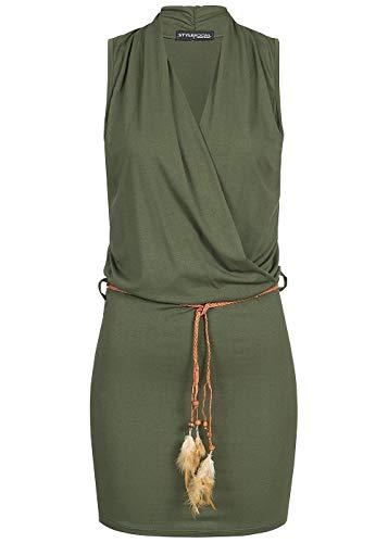Styleboom Fashion® Damen Mini Strand Viskose Kleid mit Gürtel weiter Ausschnitt Military grün, Gr:XL