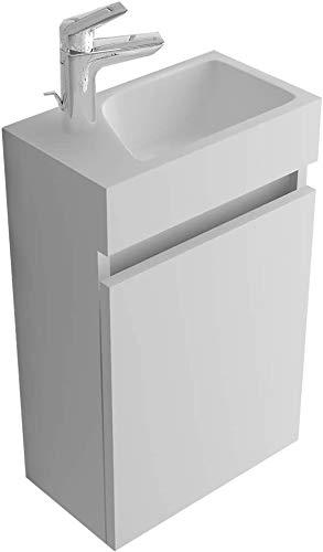 Alpenberger Waschplatz Vormontiertes 40cm Badmöbel-Set | Waschbeckenunterschrank mit Soft-Close Funktion | Elegante & Platzsparende Einrichtungslösung Weiß Hochglanz