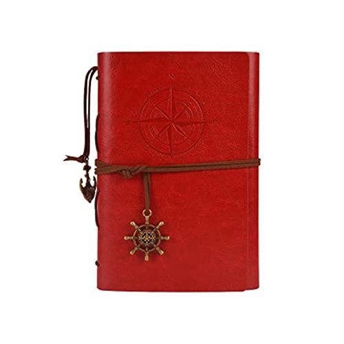 JUGTL Blanco Cuaderno Para Estudiante A6 Hojas Sueltas Ruled Diario Arte Retro Creativo Nostalgia Libreta Notas Rojo A6 130MMX183MM