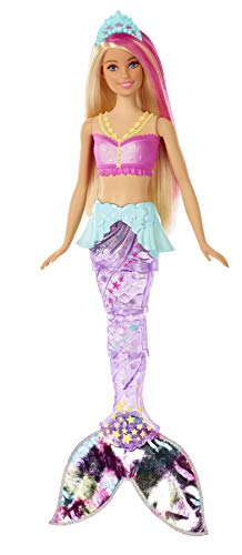 Barbie Dreamtopia Sparkle Lights Mermaid Doll with Swimming Motion and Underwater Light Shows, approx 12-inch with Pink-Streaked Blonde Hair