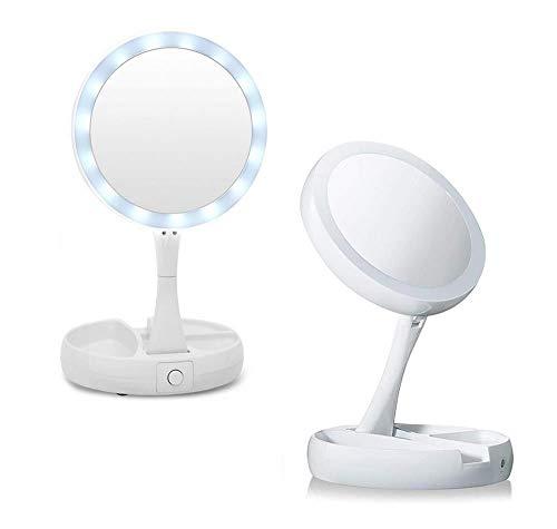 specchio trucco zoom Gloriashoponline SPECCHIO DOPPIO COSMETICO ILLUMINATO A LED INGRANDIMENTO ZOOM 10 X TRUCCO BARBA