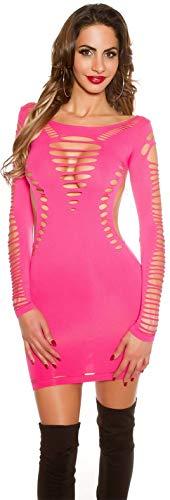 Firstclass Trendstore Minikleid mit Cut Outs Gr. 34 36 38, Clubwear Kleid Party Disco (900147 pink B9462)