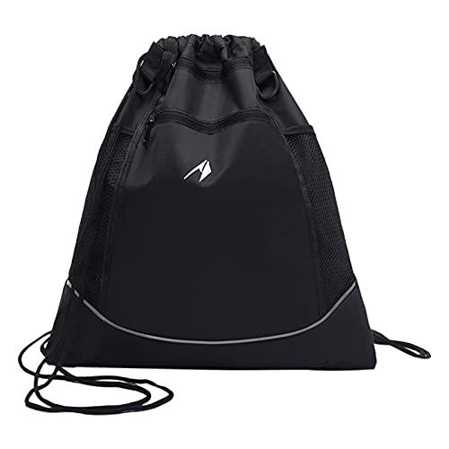 Mochila de Baloncesto, Mochila de Baloncesto con cordón, Mochila para Hombre con Compartimento para balón, Bolsa de Deporte generalizada (Negro)