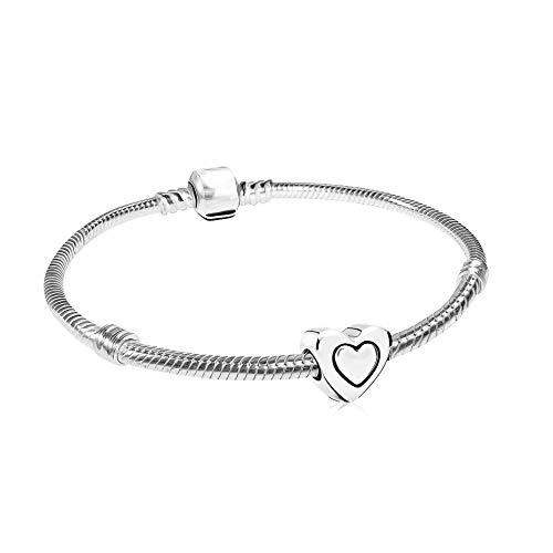 AKKi jewelry Damen Beads Charm Anhänger und Armband Starter Set, Edelstahl Silber Charms Herz Liebe Geschenk Idee armreif Stopper Pandora Style Kompatibel 20cm