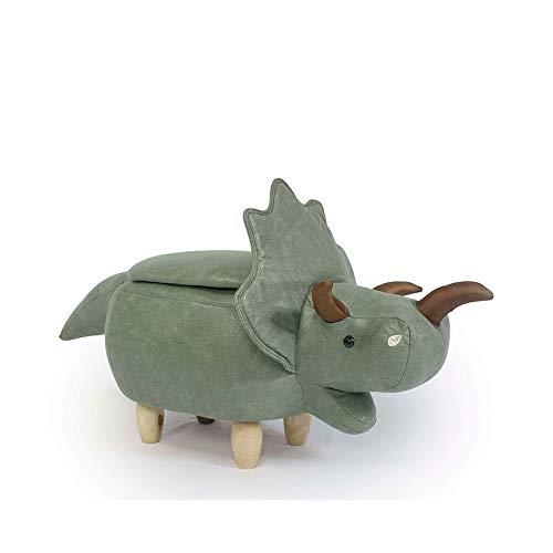 Reposapiés animales con forma de rinoceronte, cuero sintético, reposapiés madera maciza, otomano, altura asiento de 36 cm (14 pulgadas) para guardería, dormitorio, sala estar,Verde,C