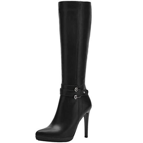TAONEEF Botas Largas De Tacón Alto Para Mujer Botas De Tacón De Aguja Con Cremallera A Media Pierna Vestido De Fiesta Puntiagudo Zapatos De Invierno Talla Negra 39 Asiática