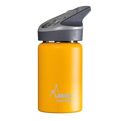 Laken Jannu Botella de Agua Térmica con Aislamiento de Vacío con Doble Pared de Acero Inoxidable 18/8. Hasta 24 Horas de Frío, Amarillo, 350 ml