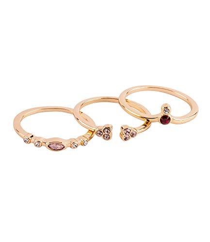 TOSH 3er Set aus schmalen goldfarbenen Ringen mit Strasssteinen in Rot, Weiss und Rosa, Größe M / 56/17,8 (365-967)