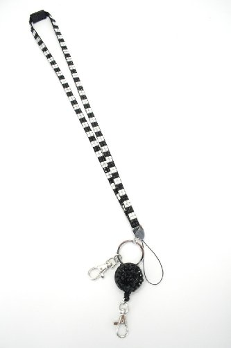 New Retractable Rhinestone Bling Breakaway Lanyard Crystal Bling Badge Id Key Holder Required By Most Hospitals and Government Agencies! (Black and White Checkered)