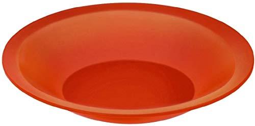 Rotho Caruba tiefer Plastikteller Mehrweg, Kunststoff (PP) BPA-frei, rot, 21,0 x 21,0 x 3,5 cm