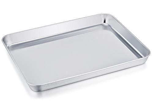 TeamFar Stainless Steel Compact Toaster Oven Pan Tray Ovenware Professional, 8''x10''x1'', Heavy Duty & Healthy, Deep Edge, Superior Mirror Finish, Dishwasher Safe