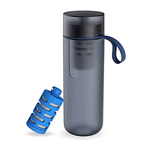 Philips - AWP2712 - Botella Filtro de Agua Go Zero Active, Modelo Fitness, Elimina el cloro y mejora el sabor, Libre de BPA, 600 ml, Azul Oscuro