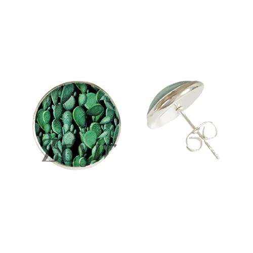 Moda verde cactus Stud pendiente cristal foto cabujón cúpula oído joyería para niña fiesta cumpleaños regalo