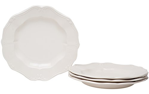 Red Vanilla FQ900-402 Country Estate Salad Plates (Set of 4), 8.25', White