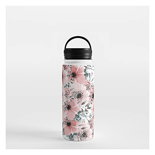 Society6 Watercolor Flower, Blush Pink and Gray, Floral Prints by Megan Morris on Water Bottle