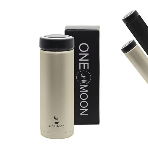 One Moon Trinkflasche Edelstahl 680ml, Auslaufsichere Thermosflasche, Kohlensäure geeignet, Wasserflasche BPA-Frei, Teeflasche, Isolierflasche für Arbeit, Uni, Schule, Fitness, Outdoor-inkl. Sieb