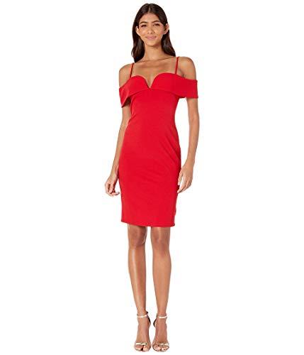 bebe Women's Fold Over Shoulders w Spaghetti Strap Scuba Crepe Chic Bodycon Dress Red 10