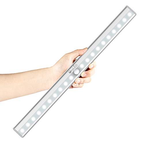 Motion Sensor Lights, OxyLED USB Rechargeable Closet Light 20 LEDs Wireless Under Cabinet Lightening for Wardrobe, Emergency, Garage, Medicine Cabinet, Gun safe, Vanity Mirror, Workstation