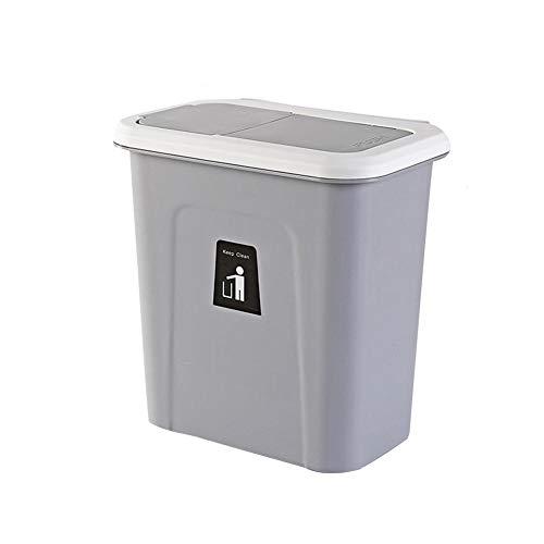 qq Hängender Mülleimer mit Deckel, kleiner kompakter Mülleimer für Küchenschranktür und Badezimmer, Windeleimer, Hängender Abfalleimer für Büro und Babybett (grau)