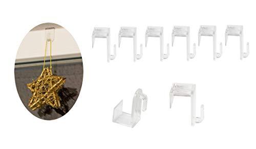 BigDean 8er Set Fenster- und Türhaken - Aus transparentem Kunststoff - Unauffällig & Effizient - Für EIN Fensterfalz von max. 1,7 cm - Ideal für Lichterketten, Dekoanhänger & Weihnachts-Deko -