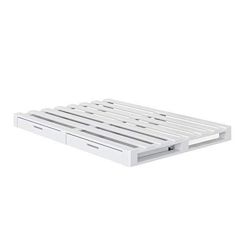 Vicco Palettenbett Massivholzbett Palettenmöbel Schublade Holzbett weiß Natur (Weiß, 140x200cm)