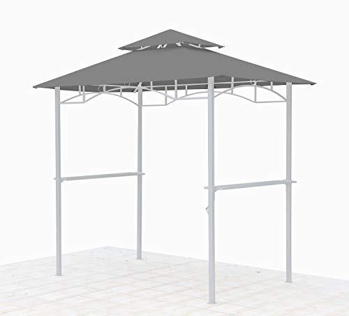 GRASEKAMP Qualität seit 1972 Ersatzdach für BBQ Grill Pavillon 1,5x2,4m Grau Unterstand Doppeldach Gazebo