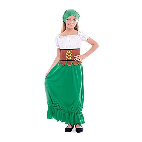 Disfraz Medieval Mesonera Nia Vestido Tabernera Campesina PosaderaTallas Infantiles de 3 a 12 aos[Talla 5-6 aos] Disfraces Medievales Edad Media Carnaval Festivales Teatro Actuaciones Desfiles