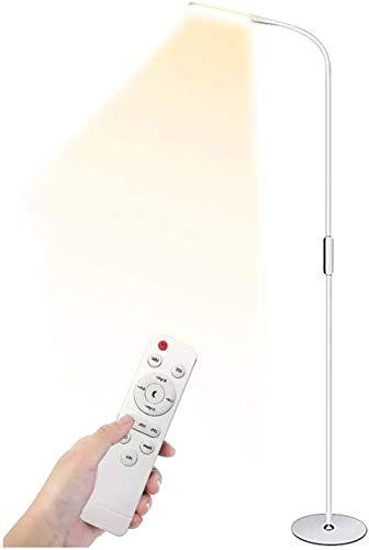 Henzin Lampara de Pie LED Regulable ,Control Remoto y Control Táctil Regulable en 5 Niveles,Luz de Pie para Salon, Dormitorio, Estudio y Leer, Diseño Moderno, Luz Cuidado Ojos, Bajo Consumo, Blanco