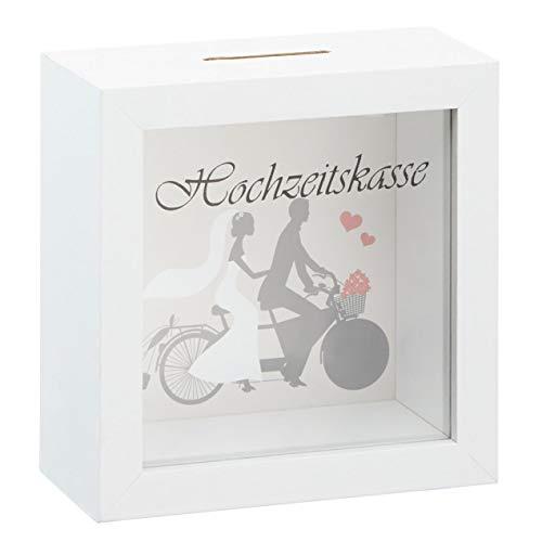 Hochzeit Spardose 15x15 cm weiß - Hochzeits Kasse Sparbüchse mit Sichtfenster - Geldgeschenk
