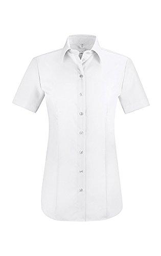 GREIFF Damen-Bluse mit Kent-Kragen | Kurzarm | Bügelfrei | 100% Baumwolle | Farbe: Weiß | Größe: 46