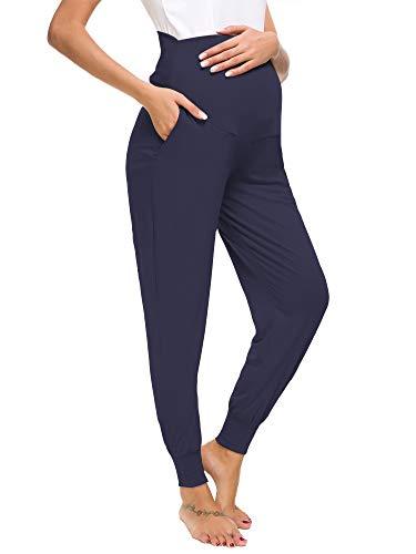 Love2Mi Freizeithose für Schwangere, Umstandsleggings Schwangerschaft Hosen Bequeme Stretch Jogginghose, Marineblau, M