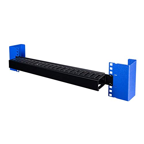 RackSolutions Black 1U Metal Cable Manager with Plastic Duct for 2...