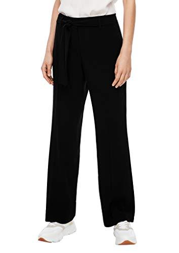 s.Oliver BLACK LABEL Damen Regular Fit: Hose mit Bindegürtel Black 42.REG