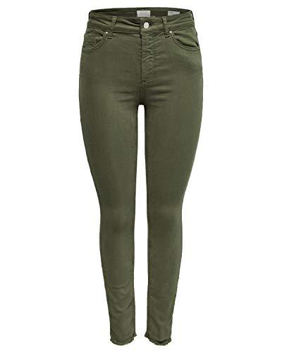 ONLY Damen Jeans onlBLUSH MID SK ANK RAW Colour - Skinny Fit - Grün - Kalamata, Größe:L - L 32, Farbe:Kalamata (15183652)