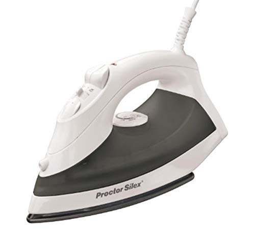 Proctor Silex Steam Iron & Vertical Steamer for Clothes with Nonstick Soleplate, 1200 Watts, Auto Shutoff, Adjustable Spray and Blast Settings, White (17202)
