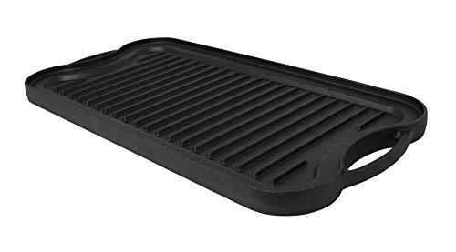 Mirro Grillplatte aus Gusseisen, vorgebrannt, wendbar, 50,8 x 26,7 cm, Schwarz